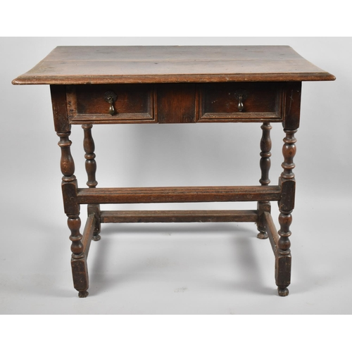 28 - A 19th Century Oak Side Table with Single Long Drawer, Missing Piece Moulded Fielding to Left Side, ...