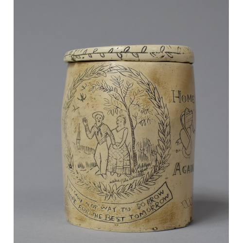 30 - A Resin Scrimshaw Style Tobacco Pot in the Form of a Whale Tooth, 9cm high