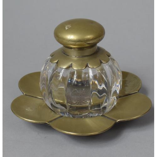 31 - A Silver Plate and Glass Desktop Globular Inkwell on Flower Petal Tray, 15.5cm Diameter...