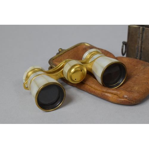 32 - An Early 20th Century Pair of Gilt and Mother of Pearl Opera Glass Inscribed Campbell, Hamburg with ...