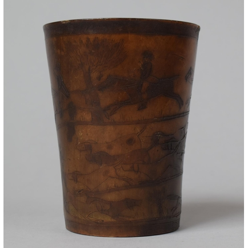 33 - A 19th Century Decorated Horn Beaker with Incised Fox Hunting Scenes, the Base Monogrammed IRR, 10cm...