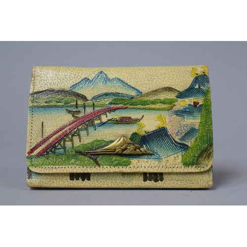 35 - A Japanese Decorated Leather Purse, 13.5cm wide...