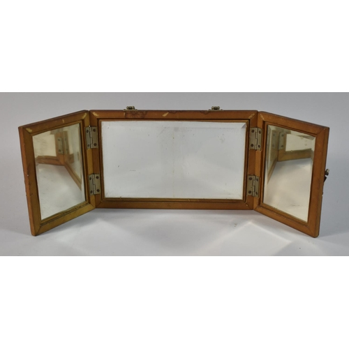 36 - A Late/Early 20th Century Triple Folding Travel Mirror, Formerly Would Have Formed Part of a Travel ...
