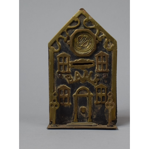 37 - Two Late 19th/Early 20th Century Brass and Iron Novelty Money Banks in the Form of Banks, Tallest 19...