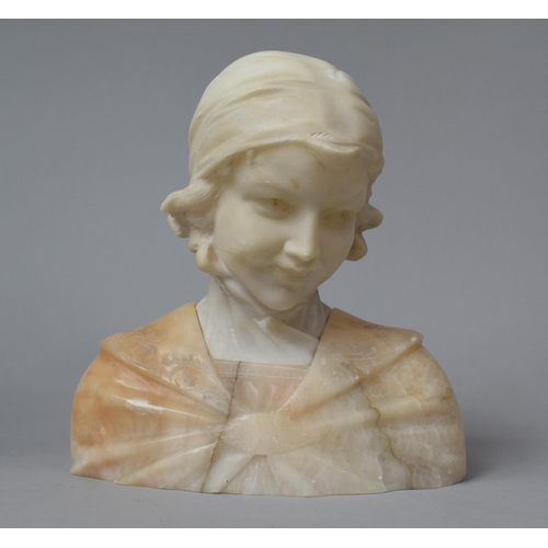 39 - An Early 20th Century Carved Marble Bust of a Girl with Scarf, Neck Glued, 23.5cm high...
