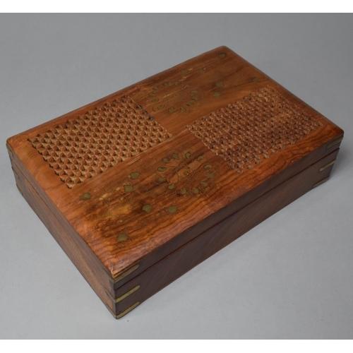 4 - A Modern Brass Inlaid Far Eastern Work Box, 30cm Wide