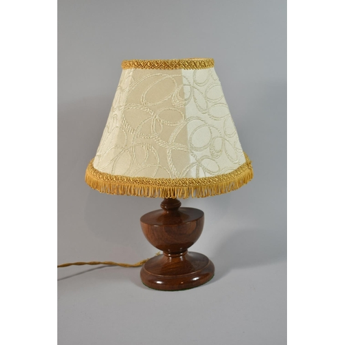 40 - A Mid 20th Century Turned Wooden Table Lamp of Vase Form, Complete with Shade, Overall Height 33cm...
