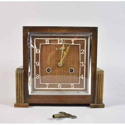 42 - An Art Deco Bentima Mantle Clock with Eight Day Movement, Missing Small Moulding, 23cm wide