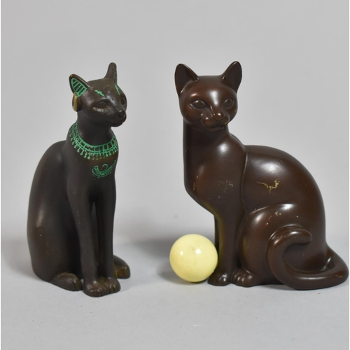 46 - Two Patinated Bronze Studies of Seated Cats, Each 7cm high