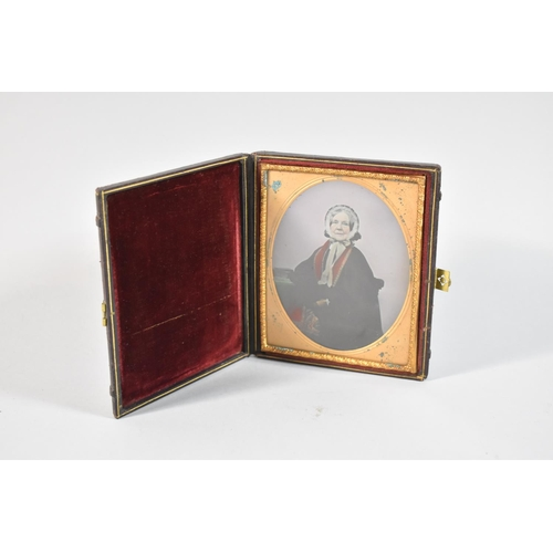 48 - A Late Victorian Cased Daguerreotype Photograph of a Seated Lady, 13.5cm