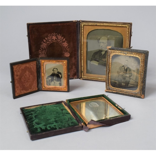 49 - A Collection of Four Late 19th Century Daguerreotype Cased Photographs...