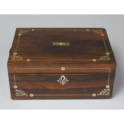 5 - A Late 19th Century Mother of Pearl Inlaid Rosewood Work Box, Missing Inner Tray, In Need of Some Re...