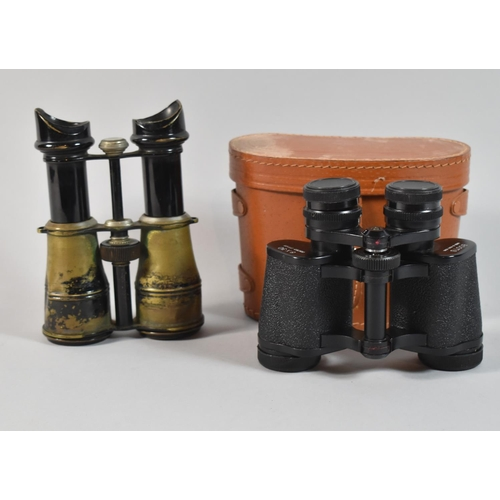 50 - A Pair of Early 20th Century Brass and Japanned Binoculars, Inscribed