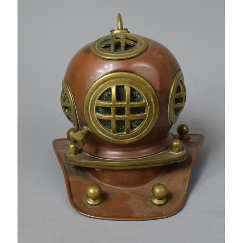 51 - A Mid 20th Century Model In Copper and Brass of a Divers Helmet, 17cm high