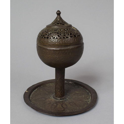 52 - An Early 20th Century Islamic Brass Incense Burner of Globular Form on Circular Tray, 20cm high...