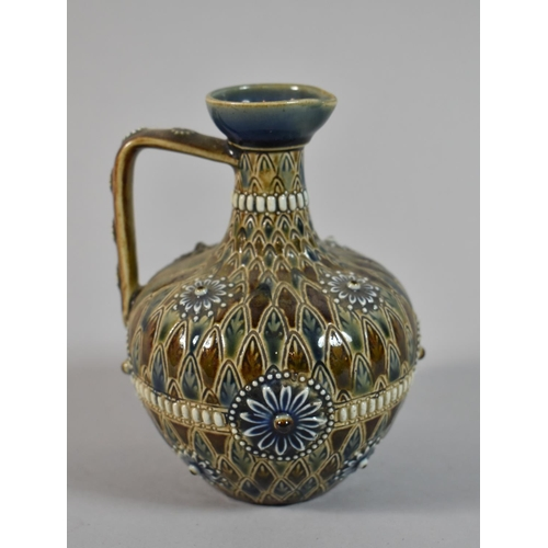 54 - A Doulton of Lambeth Jug in the Usual Brown and Blue Enamels, Shape no. 1884, 13cm high