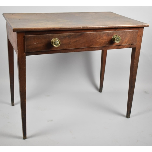 58 - A Regency Mahogany Side Table with Single Long Drawer and Turned Brass Handles, Tapering Turned Supp...