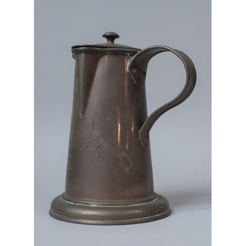 59 - A Late 19th/Early 20th Century Copper Side Pouring Jug with Hinged Lid, 20cm High
