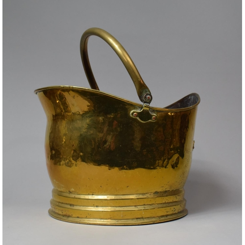60 - A Mid 20th Century Brass Helmet Shaped Coal Scuttle (Missing Back Handle), Rectangular Trivet Stand ...