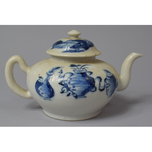 364 - An Early Blue and White Teapot Decorated with Oriental Three Vase Pattern, Lid AF