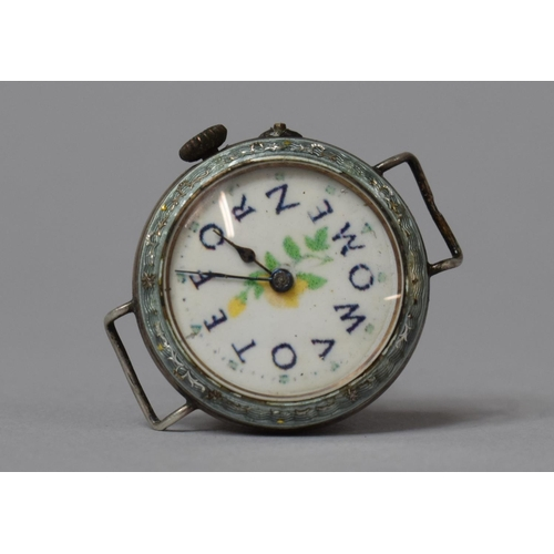 """A Silver Cased Suffragette """"Vote for Women"""" Wrist Watch with Floral Decoration, Swiss Movement, Hallmarked London 1913"""