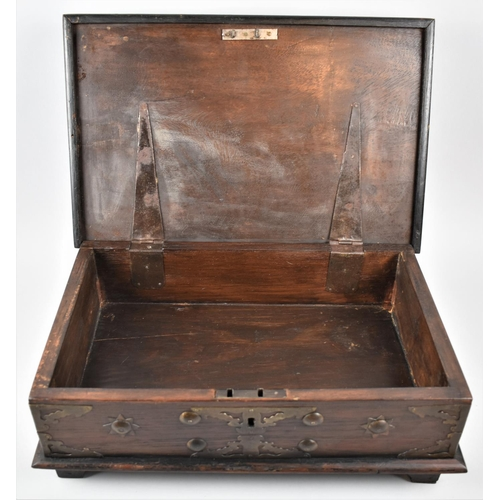 1 - A Colonial Brass Mounted and Studded Hardwood Bible Box, Probably Anglo Indian, on Bracket Feet, 43c...