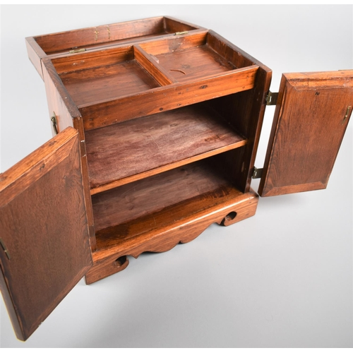 11 - A Modern Chinese Table Top Cabinet with Brass Mounts and Carrying Handles, and Hinged Lid to Station...