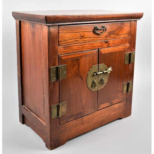 12 - A Chinese Brass Mounted Hardwood Table Top Cabinet with Single Top Drawer Over Cupboard Base, 40cm W...