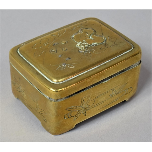 24 - A Small Chinese Rectangular Box with Engraved and Relief Decoration, 5.5cm wide