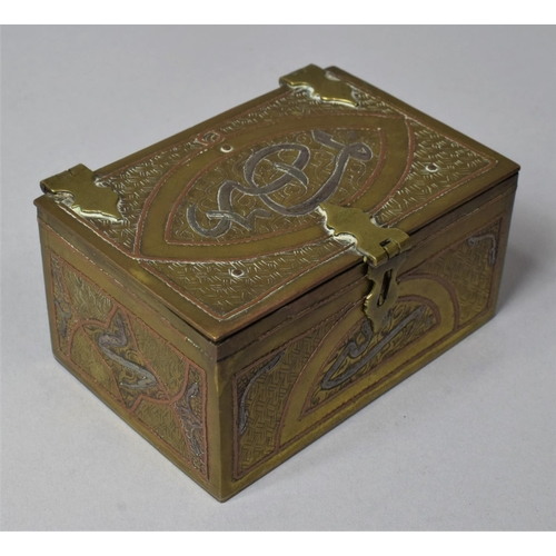 25 - A Late 19th/Early 20th Century Islamic Mixed Metal Rectangular Box, 9cm wide