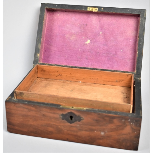 3 - A Small Late Victorian/Edwardian Inlaid Jewellery Box with Inner Removable Tray, 20cm Long