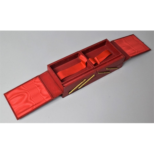 35 - A Mid 20th Century Cantilevered Three Section Jewellery Box in Leather by Brentano's, Paris, 52cm Wi...