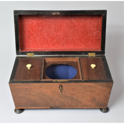 4 - A 19th Century Mahogany Tea Caddy, the Hinged Lid Lifting to Reveal Two Tea Boxes and Centre Recess ...