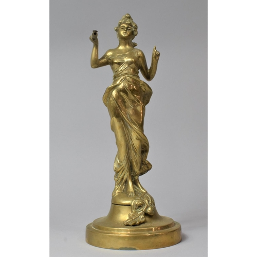 44 - A French Art Nouveau Brass Figure of a Maiden on Circular Base, 29cm high
