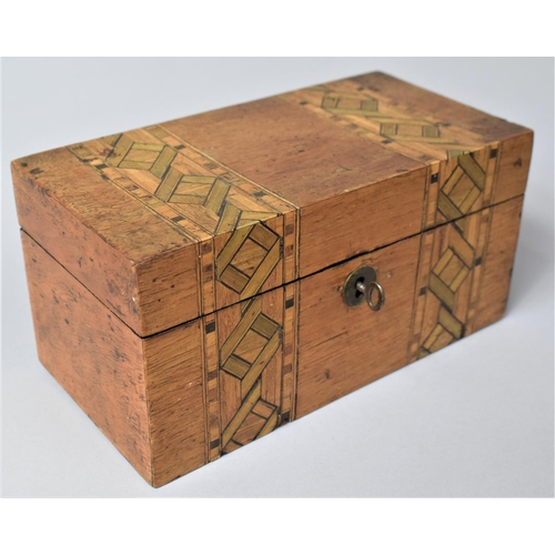 7 - A 19th Century Banded Inlay Walnut Box, Formerly Two Division Tea Caddy, 20cm wide