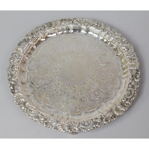 415 - A Silver Card Tray by William Hutton & Sons Ltd, Monogrammed and Dated 1901, 20.5cm Diameter, 460gms