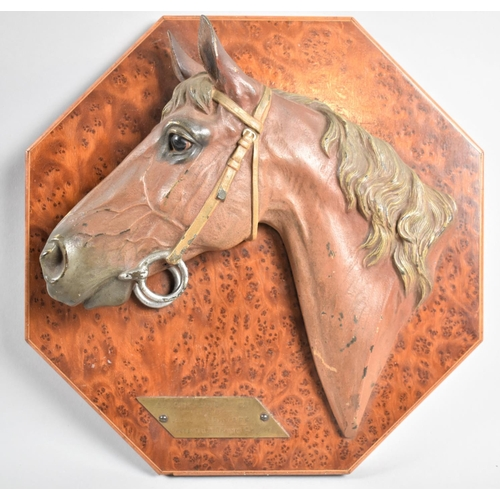 68 - A Cold Painted Bronze Wall Hanging Racehorse Trophy, Presented to the Winning Jockey J Salisse in th...