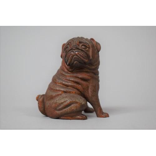 235 - A Carved Wooden Pug Dog, 7cm high