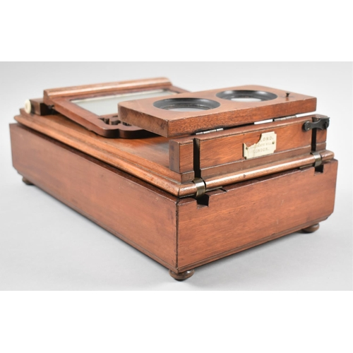 1 - A Late Victorian Mahogany Table Top Stereoscopic Slide and Postcard Viewer by Dollond, Ludgate Hill,...