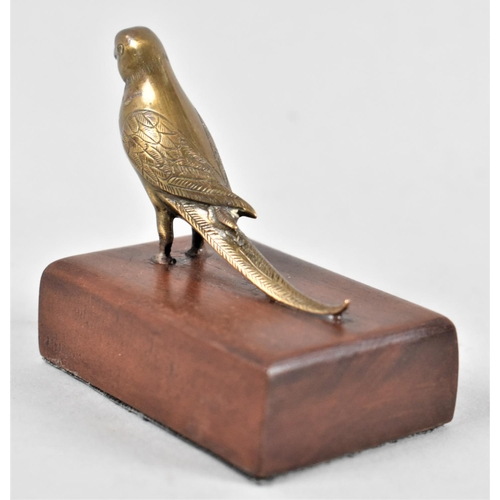 12 - A Small Bronze Study of a Budgerigar Mounted on a Wooden Plinth, 6.5cm long