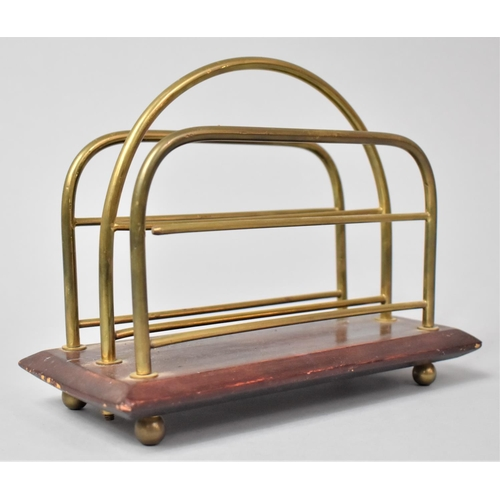 15 - A Late Victorian/Edwardian Two Division Letter Rack on Mahogany Plinth Base, 21.5cm Wide, In Need of...