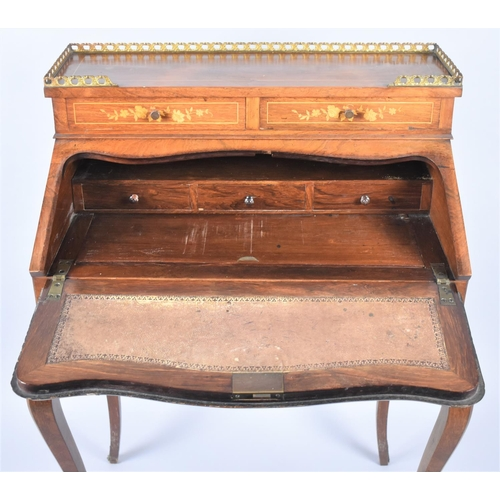 19 - A Reproduction Ormolu Mounted French Style Inlaid Walnut Ladies Writing Bureau on Extended Cabriole ...