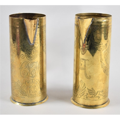 23 - A Pair of Early 20th Century Brass Jugs with Engraved Decoration, One Monogrammed A, the Other CLC b...