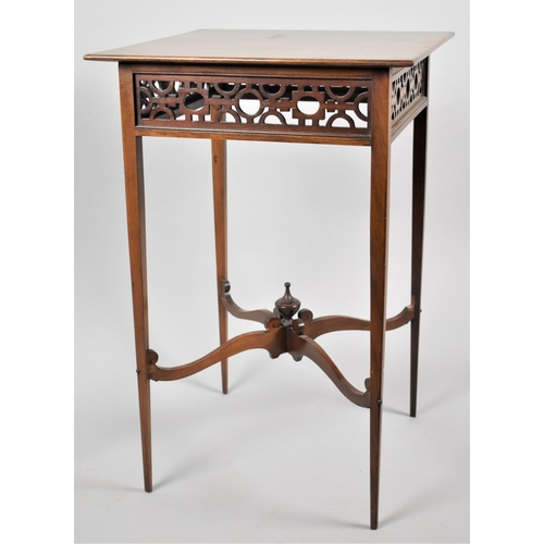34 - An Edwardian Mahogany Square Topped Occasional Table with Pierced Top Border, Tapering Square Legs a...