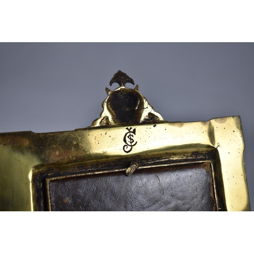 53 - A French Bronze Easel Back Photo Frame with Horned Devil Finial, Stamped Back, 26cm High and 17cm wi...