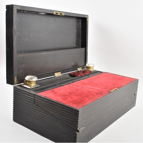 7 - A Late Victorian/Edwardian Colonial Ebonised Writing Slope with Hinged Lid to Fitted Interior, 43x25...