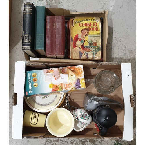 8 - Kitchen ware and books including Mrs Beeton's Household Management.  No in house shipping, please co...