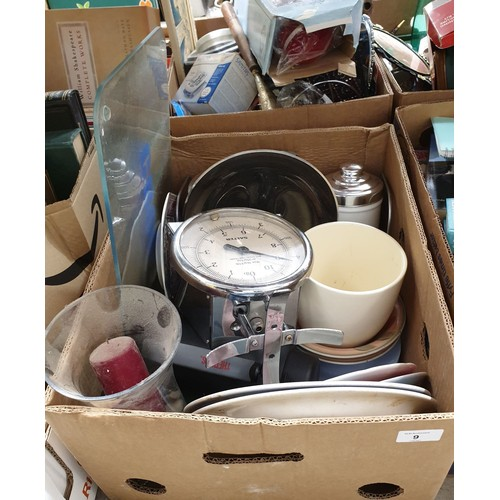 9 - A box of kitchen ware.  No in house shipping, please collect or arrange a shipper.