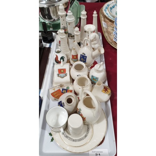 21 - A selection of crested ware.  No in house shipping, please collect or arrange a shipper.