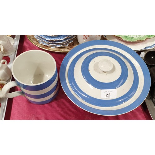 22 - A T. G. Green Cornishware lidded tureen together with a Cornishware mug.  No in house shipping, plea...